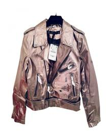 Zara \N Metallic Vegan leather Leather Jacket for Women