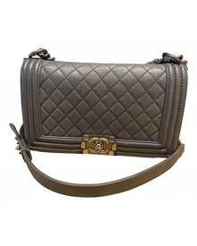Chanel Boy Grey Leather Handbag for Women