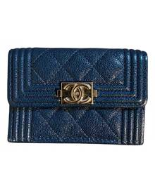 Chanel Boy Navy Leather wallet for Women \N