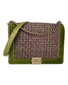 Chanel Boy Green Tweed handbag for Women \N