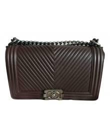 Chanel Boy Burgundy Leather handbag for Women \N