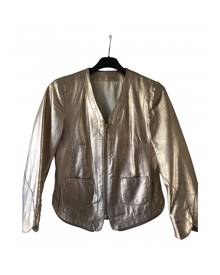 Zadig & Voltaire \N Metallic Leather Leather jacket for Women M International