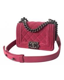 Chanel Boy Pink Velvet handbag for Women \N