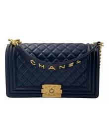 Chanel Boy Navy Leather handbag for Women \N