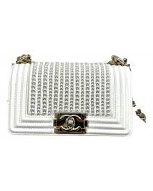 Chanel Boy White Leather handbag for Women \N