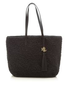 Ralph Lauren Tote Bag On Sale, Black, Paper Straw, 2021