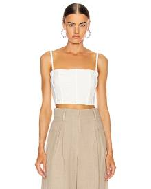fleur du mal Eyelet Straight Across Corset Top in Blanc - White. Size L (also in ).