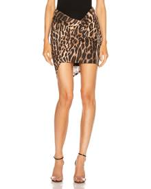 Alexandre Vauthier for FWRD Ruched Mini Skirt in Animal - Animal Print,Brown. Size 34 (also in 36,38,40).