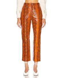 GRLFRND Shiloh Leather Pant in Orange Snake - Animal Print,Orange. Size 28 (also in 29).