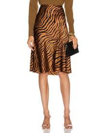 NILI LOTAN Lane Skirt in Bronze Tiger Print - Animal Print,Brown. Size 0 (also in ).