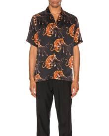 Endless Joy Macan Aloha Shirt in Black & Multi - Animal Print,Black,Orange. Size M (also in ).