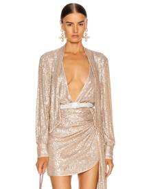 JONATHAN SIMKHAI Sequin Cross Front Bodysuit in Champagne - Metallic Gold. Size L (also in ).