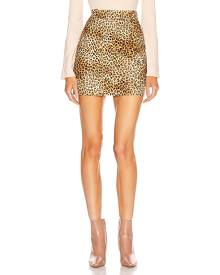 NILI LOTAN Rivoli Skirt in Golden Baby Leopard Print - Animal Print,Neutral. Size 4 (also in 2,6,8).