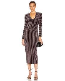 fleur du mal Mitered Long Sleeve Dress in Bisou - Black, Pink,Stripes. Size XS (also in ).