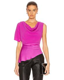 fleur du mal Asymmetrical Cowl Top in Passion - Pink. Size 0 (also in 2,4,6).