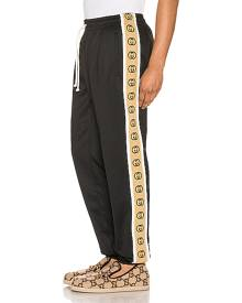 Gucci Loose Technical Jersey Jogging Pant in Black & Multi - Black,Stripes. Size XL (also in ).