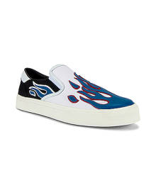 Amiri Flame Slip On in Black & White & Blue - Blue. Size 42 (also in 41,43,44,45).