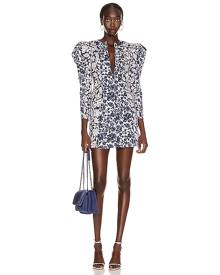 Ulla Johnson Wren Dress in Floral Patchwork - Abstract,Blue,Floral,White. Size 0 (also in 2,4,8).