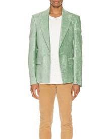 Amiri Paisley Velvet Glitter Blazer in Pale Lime - Green,Paisley. Size 46 (also in 48,50,52).