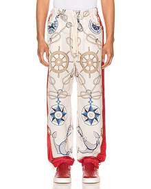 Gucci Nautical Print Nylon Pants in Live Red & Multi - Red,Novelty,White. Size 50 (also in ).