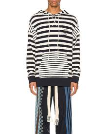 Loewe Stripe Hoodie in Ecru & Navy Blue - Blue,Stripes. Size M (also in L,S).