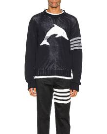 Thom Browne Dolphin Pullover in Navy - Animal Print,Blue. Size 1 (also in 2,3).