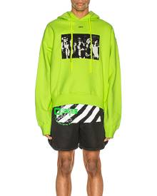 OFF-WHITE Spray Painting Over Hoodie in Fluo Yellow - Green. Size L (also in ).