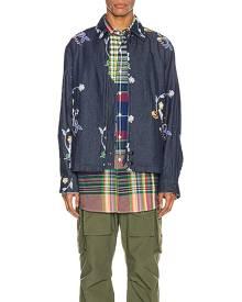 Engineered Garments Claigton Jacket in Indigo Denim Floral Embroidery - Denim Dark,Floral. Size L (also in M,XL).