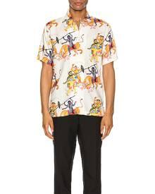 Endless Joy Kali Aloha Shirt in Bone Multi - Animal Print,Abstract,Neutral,Blue,Orange,Yellow. Size L (also in M,S,XL).