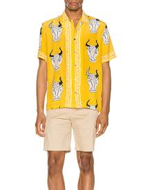 Endless Joy Larnax Aloha Shirt in Yellow Multi - Animal Print,Yellow. Size M (also in S).