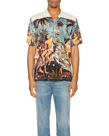 Endless Joy Who Looks Outside Aloha Shirt in Multi - Abstract,Animal Print,Neutral,Green,Tropical. Size L (also in M,S,XL).
