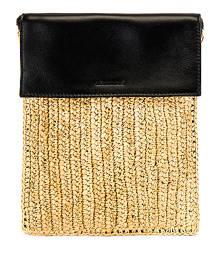 Jil Sander Raffia Crossbody Bag in Natural - Black,Neutral. Size all.