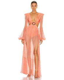 PatBO Long Sleeve Mesh Beach Dress in Neon Coral - Orange. Size M (also in S,XS).