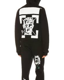 OFF-WHITE Masked Face Over Hoodie in Black & White - Black. Size S (also in L,M,XL).