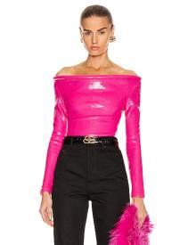 Balenciaga Sequin Ring Bodysuit Top in Pink
