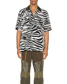 Sacai Zebra Print Shirt in Animal Print,Black,White