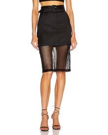fleur du mal Sheer Pencil Skirt in Black