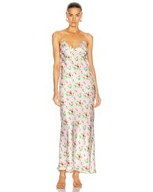 BERNADETTE Jeanette Silk Satin Slip Dress in Pink,Floral