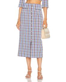 Rosie Assoulin Button Down Pencil Skirt in Blue,Pink,Plaid
