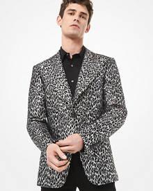 Michael Kors Mens Leopard Metallic Wool Jacquard Blazer