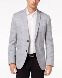 INC Mens Gray XS Two Button Slim Fit Metallic Damask Jacquard Blazer
