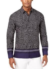 INC NEW Black Mens Large L Animal Print Colorblock Button Up Shirt