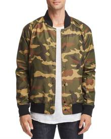 Designer Brand Mens Jacket Green Size Large L Camo Print Flight/Bomber