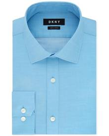 DKNY Mens Dress Shirt Hawaii Blue 15 1/2 Long Sleeve Slim Fit Stretch