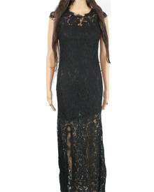 Your Lace Women's Dress Classic Black Size 4 Sheath Lace Eyelet Trim