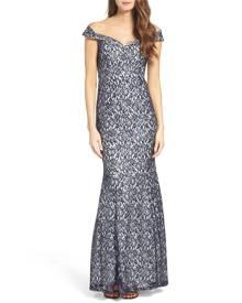 Sequin Hearts Junior's Dress Blue Size 3 Sweetheart Off Shoulder Gown