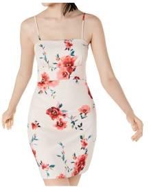 Sequin Hearts Dress Pink Size 3 Junior Sheath Floral Cutout Back Mini