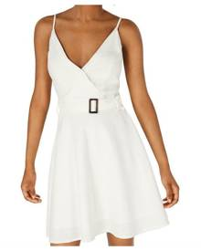 Sequin Hearts Dress White Ivory Size XXS Junior A-Line Belted Surplice