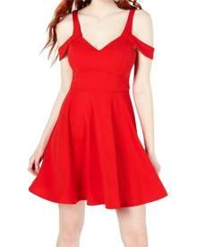 Sequin Hearts Dress Bright Red Size 1 Junior A-Line Cold Shoulder
