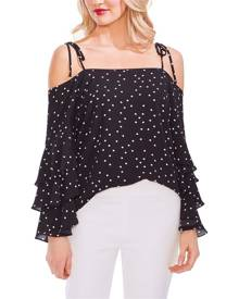 Vince Camuto Women's Blouse Black Size Small S Ruffle Cold Shoulder